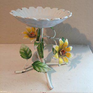 Vintage handpainted metal candle/plant holder